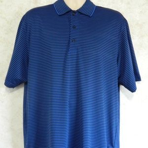 Izod Golf Men's Polo Blue Black Stripe Size Large